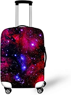 Travel Luggage Cover Spandex Suitcase Protector Washable Personalized Baggage Covers (M (22''-26'') Cover, Galaxy-1)