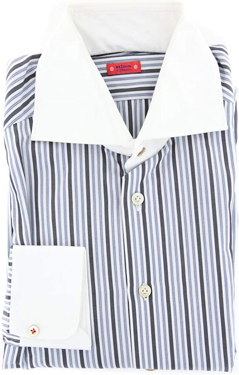 Kiton Stripes Button Down Spread Collar Cotton Slim Fit Dress Shirt