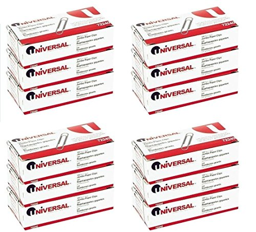 Universal Nonskid Paper Clips, Wire, Jumbo, Silver-100 ct (12 Boxes)