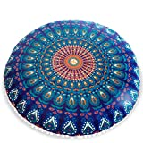 Handicrunch Dekor Indian Peacock Blue Organic Cotton Puff/Bodenkissenbezug
