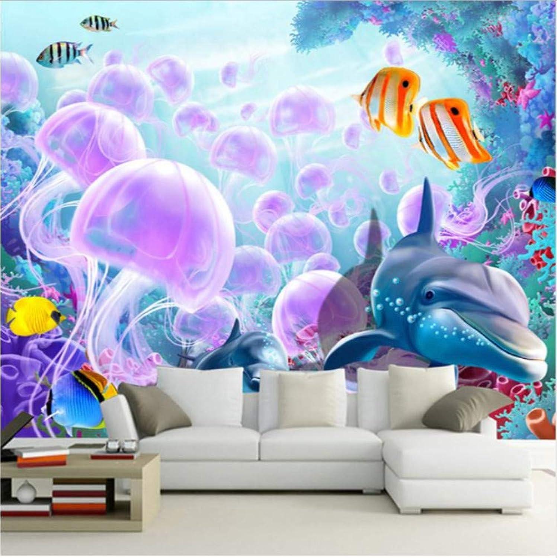 80% de descuento Mural 3d 3D 3D 3D de dibujos animados submarino mundo delfines peces medusas parojo mural foto papel tapiz para parojoes dormitorio personalizado parojo papel TV fondo  solo para ti