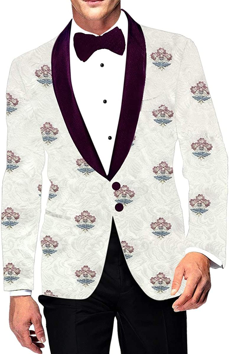 INMONARCH Ivory trend rank Max 84% OFF Embroidered Sport Jacket Mens Collar Shawl Coat