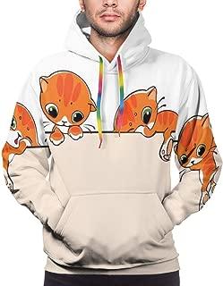 Men's Hoodies Sweatershirt,Banner with Little Kitties Felines Over Jumping The Walls Free Artful Design,