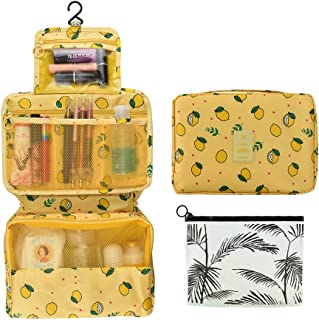 Portable Hanging Travel Toiletry Bag Waterproof Makeup Organizer Cosmetic Bag Pouch For Women Girl With Transparent Cosmetic Bag Yellow
