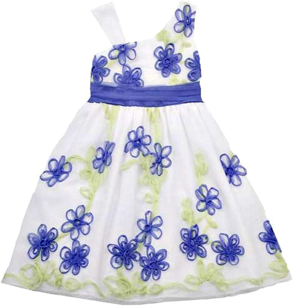 Rare Editions Girls Periwinkle/Lime Flower Soutache Dress