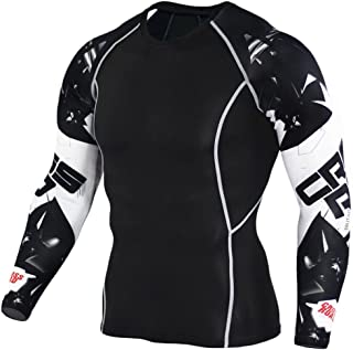 NATURET Men's Baselayer Athletic Compression Long Sleeve Skin Fit Sports Workout Shirt Quick Dry Super Hero