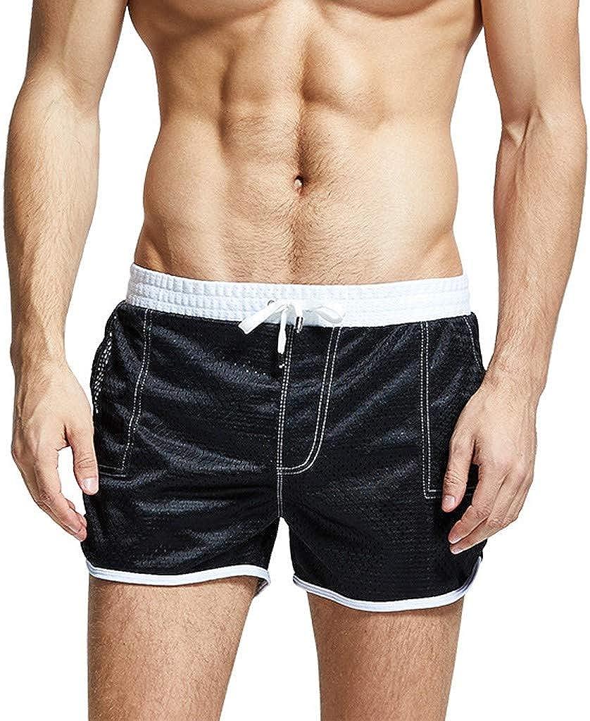 DIOMOR Mens Fashion Mesh Breathable Drawstring Swim Trunks Outdoor Beach Shorts Elastic Waist Swim Birefs Surfing Pants