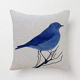 SLS Cotton Linen Decorative Throw Pillow Case Cushion Cover Blue Bird 18