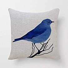 SLS Cotton Linen Decorative Throw Pillow Case Cushion Cover Blue Bird 18 X18  (7)
