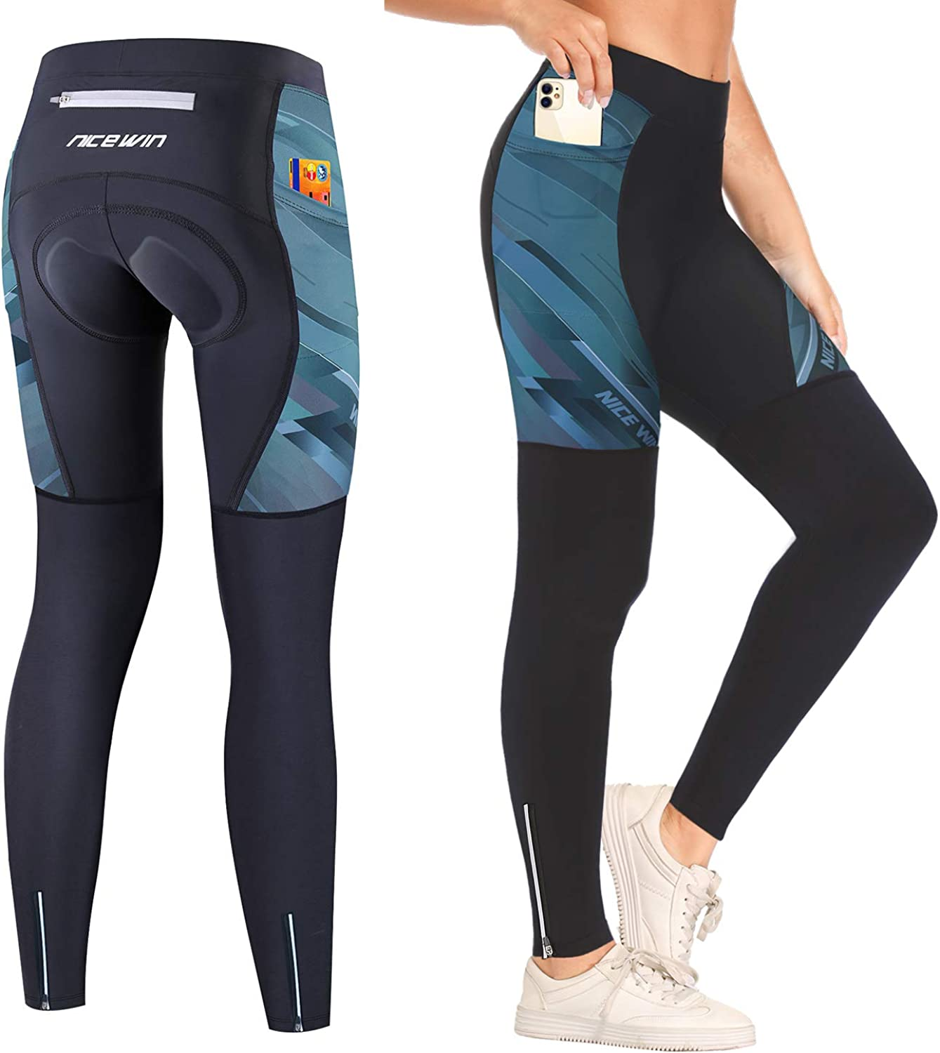 NICEWIN Women Padded We OFFer at cheap prices Cycling Tights Long Legging with Lowest price challenge Br Pockets