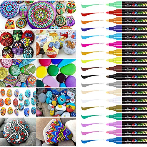 Steine Bemalen Stifte Set, Emooqi 18 Farben Acrylstifte Marker Stifte Acrylfarben Stifte 2-3mm Marker Paint Pen Schnelltrocknend Premium Paint Marker Set Art Acrylstifte für DIY Handwerk