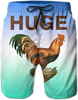 Hdecrr FFRE Huge Cock Funny Offensive Chicken Men Summer Casual Beach Shorts Quick Dry Swimming Shorts with Pockets