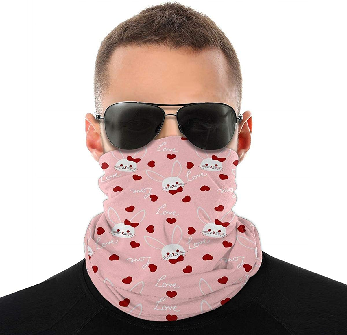 KiuLoam Love Hearts with Bunny Seamless Face Mask Bandanas Neck Gaiter for Men and Women, Multifunction Headband Scarf for Dust, Outdoors, Sports