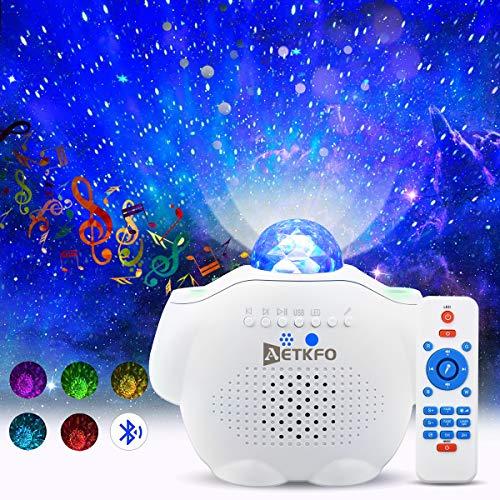 LED Projektor Sternenhimmel Lampe mit Fernbedienung Starry Stern Mond/Wasserwellen-Welleneffekt/Bluetooth Lautsprecher Perfekt für Party Weihnachten Ostern (Weiß)