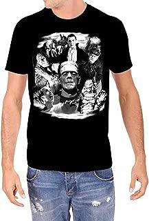 Universal Monsters Collage Frankenstein Karloff Lugosi Men's Glow in The Dark T-Shirt