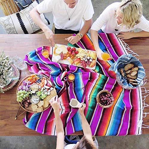 Donpow Mexicaanse tafelkleed, Mexicaanse sarape Mexicaanse deken voor buiten 35 * 215 Paars