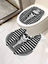 AuraiseHome King Toilet seat Sticker Decal Egyptian Pharaoh Ruler Mummy Skull Skeleton Statue for Ancient Egypt Lovers Print Toilet Decoration Set of 2 Black and White