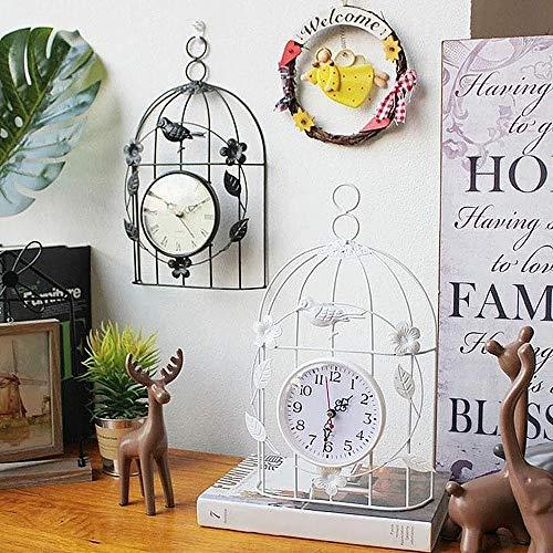 YYMM Reloj de colgaje de Jaula de pájaros al Aire Libre, Reloj de Pared de dial de Reloj de Reloj de Reloj de Reloj de Interior, Reloj de Estilo de Jaula de pájaro de Estilo Antiguo, para hogar,Negro