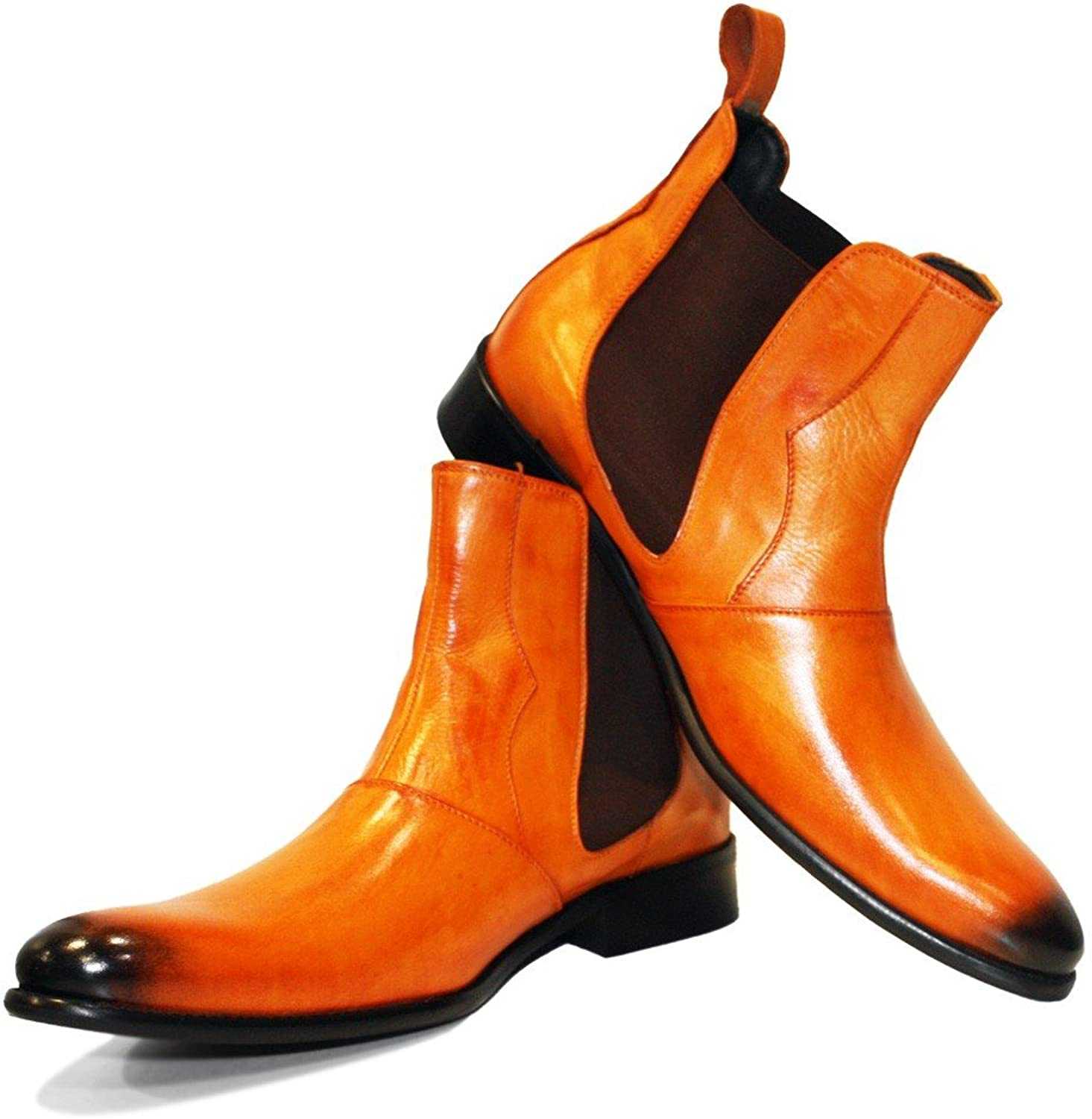 Peppeshoes Modello Chandro - Handmade Italian Leather Mens color orange Ankle Chelsea Boots - Cowhide Hand Painted Leather - Slip-On