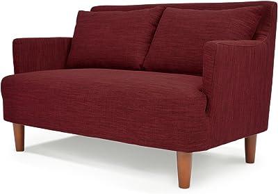 ソファ ラブソファ 北欧風デザイン 木枠ソファ 「 バレンティナ 」 二人掛け (クッション付き 布地タイプ) レッド色