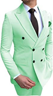 Aesido Men's Suits 2 Pieces Double Breasted Regular Fit Notch Lapel Solid Prom Tuxedos Wedding (Blazer+Pants)