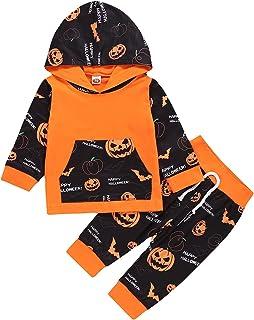 Toddler Infant Unisex Halloween Theme Clothing 2PCS Set Long Sleeve Hooded Pullover Sweatshirt Top+ Ghost Pumpkin Lantern ...