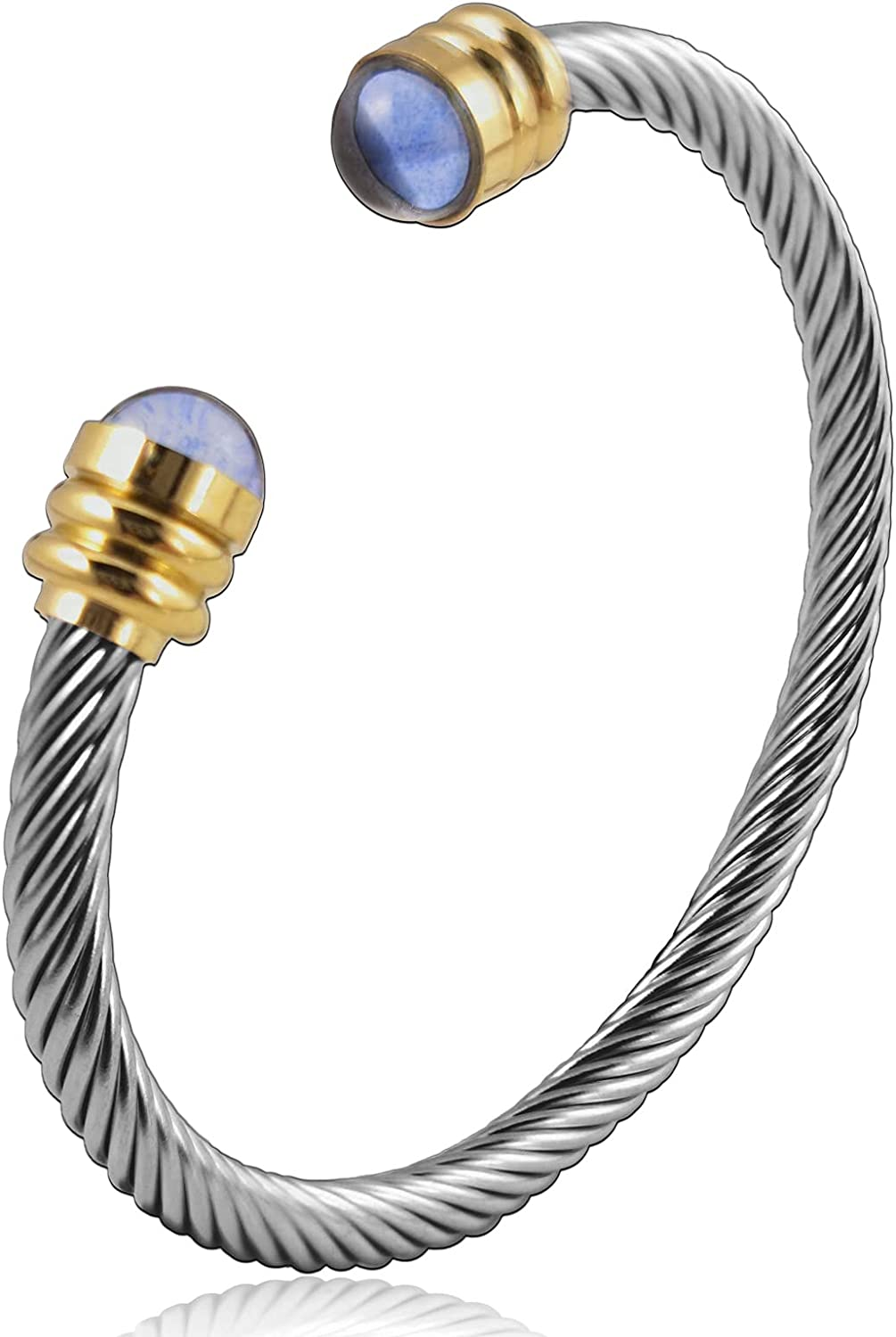 Cuff Bracelet for Women Stainless Steel Arm Twist Cable Cuff Bangle Bracelet Stackable