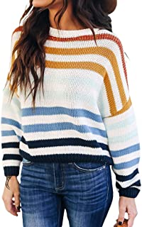 Byinns Sweater Pullover Batwing Striped Scoop Crew Neck Oversized Casual Sweater Loose Knitted Top