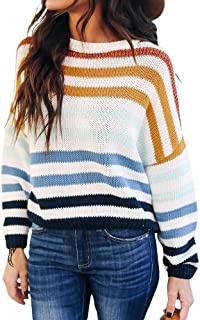 Sweater Pullover Batwing Striped Scoop Crew Neck Oversized Casual Sweater Loose Knitted Top