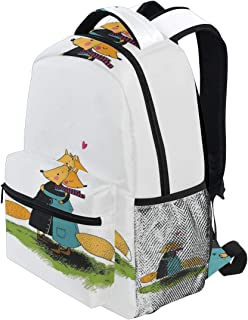 KVMV Romantic Furry Forest Animal Hugging Each Other with Pink Little Heart Love Friendship Lightweight School Backpack Students College Bag Travel Hiking Camping Bags