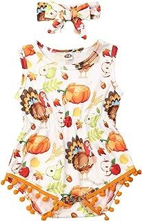 Cute Newborn Baby Girl Halloween Romper Sleeveless Turkey Pumpkin Bodysuit with Pompom+Headband 2Pcs Outfits