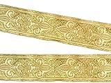 10m Französische Lilie Borte Fleur de Lis Webband 35mm Farbe: Lurex-Gold von 1A-Kurzwaren 35063-go