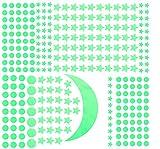 infactory Leuchtsterne: Phosphoreszierende Sternenhimmel-Wandsticker, 300er-Set, für Raufaser (Leuchtsticker)