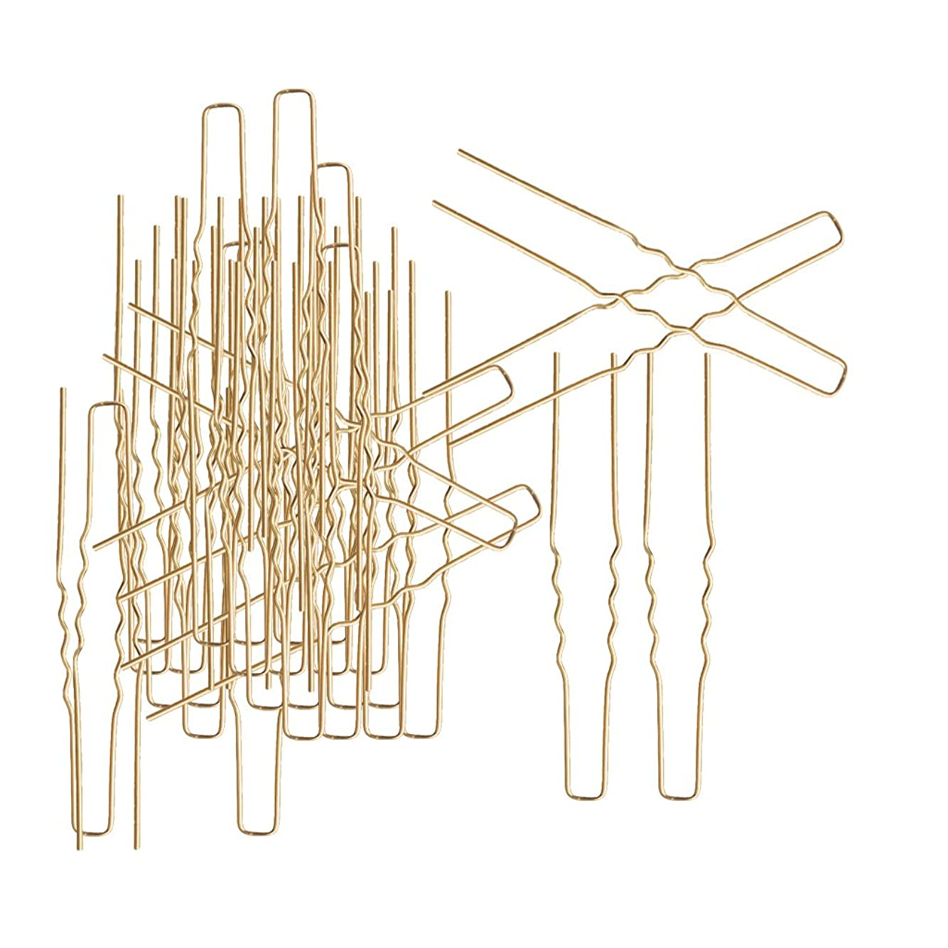 枠荷物不条理Fityle 金色 ピン形 日常アクセサリー ヘアピン DIYヘアスタイリング U字形 髪デザイン 約50本