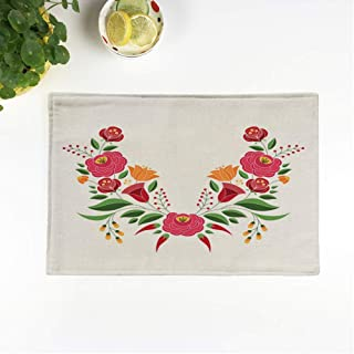 rouihot Set of 6 Placemats Hungarian Folk Pattern Kalocsa Floral Ethnic Slavic Eastern European 12.5x17 Inch Non-Slip Washable Place Mats for Dinner Parties Decor Kitchen Table