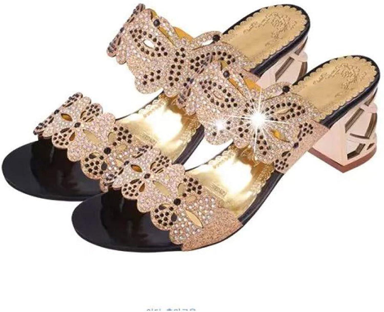 MEIZOKEN Women's Glitter Rhinestone Wedge Slippers Fashion Square Heel Open Toe Slip On Pumps shoes