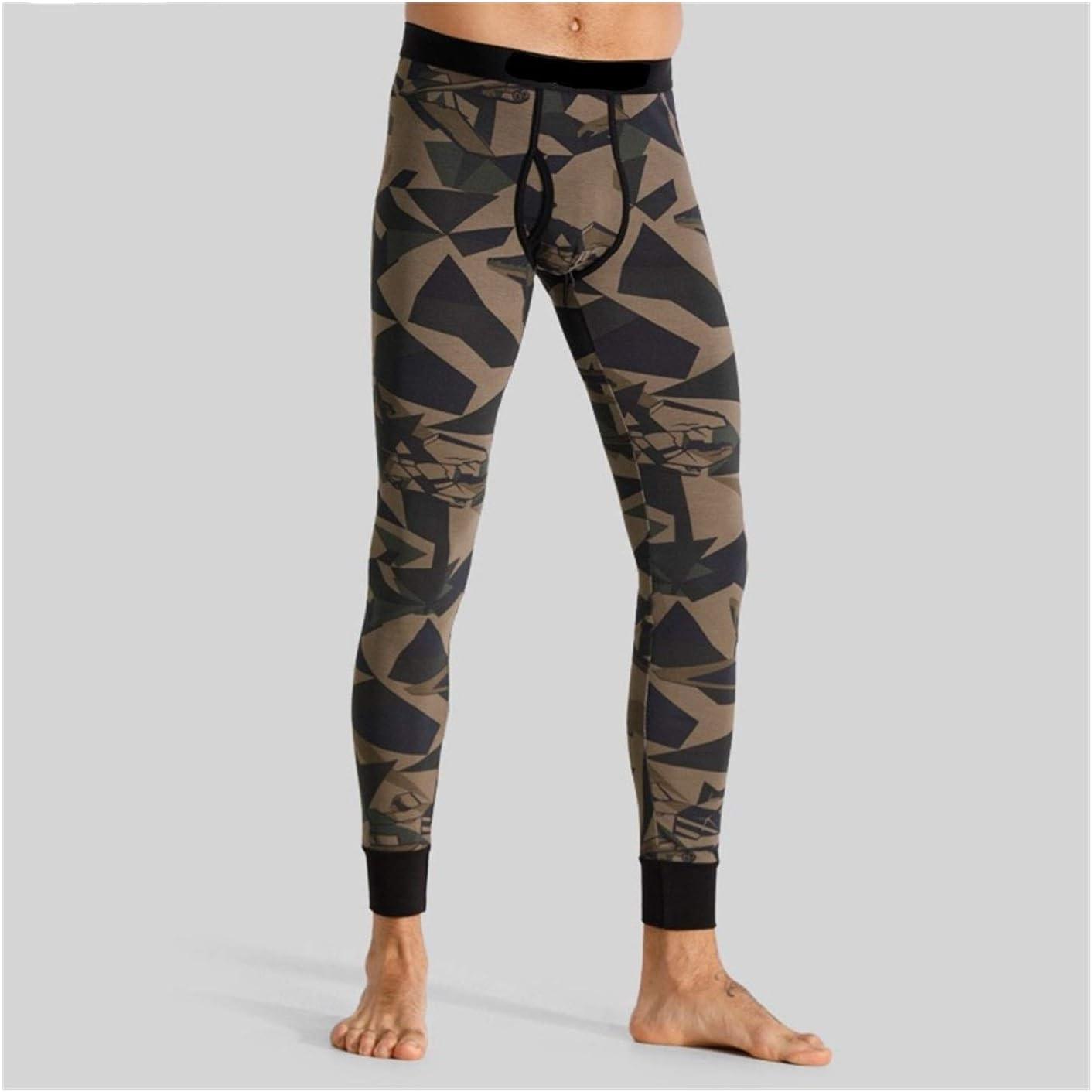 Jinqiuyuan Men Thermal Camouflage Leggings Cotton Soft Comfortable Underwear Eco-Friendly Print Thermal Bottoms Thermo Leggings (Color : Green Camouflage, Size : Large)