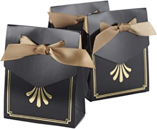 Hortense B Hewitt Tent Favor Boxes, 3.75-Inch, Gold Art Deco, 25 Count