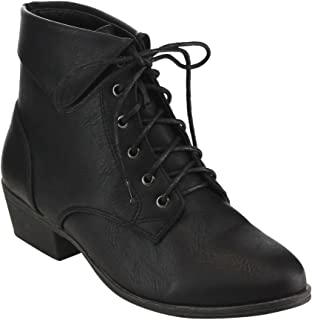 184584ad7fc4 Top Moda EC89 Women s Foldover Lace up Low Chunky Heel Ankle Booties