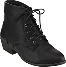 TOP Moda EC89 Women's Foldover Lace Up Low Chunky Heel Ankle Booties
