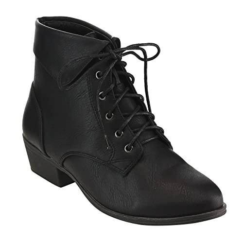 25a870ccd3f0 Top Moda EC89 Women s Foldover Lace up Low Chunky Heel Ankle Booties