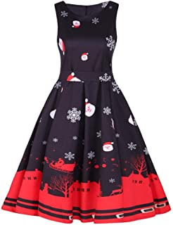 9163f2545c8 Reaso Vintage Robe Noël Robe de Soirée Cocktail Ladies Modern Rétro 1950 s  Rockabilly Swing Robe Mini