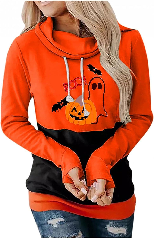 Toeava Women's Casual Hoodies Long Sleeve Drawstring Blouse Pumpkin Bat Ghost Print Pullover Halloween Sweatshirt Tops