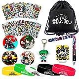 My Hero Academia Bag Gift Set - 1 MHA Drawstring Bag Backpak, 12 Sheet Stickers, 1 Lanyard, 1 Keychain, 1 Phone Ring Holder, 5 Bracelets, 4 Button Pins for Anime MHA Fans (black)