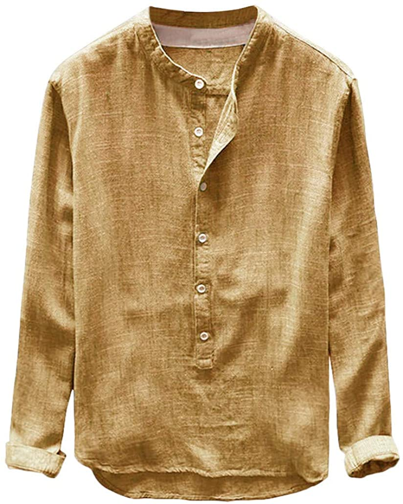 LEKODE Men T-Shirt Solid Fashion Leisure Cotton Linen Henley Blouse