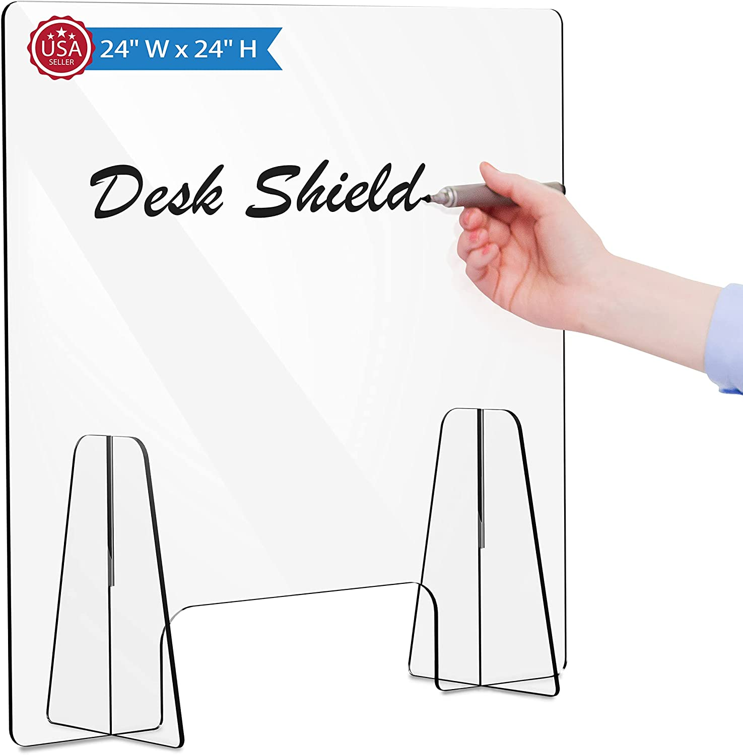 """Sneeze Guard for Counter - 23.6"""" W x 23.6"""" H with 3.9 Inch Cutout - Acrylic Sneeze Guard for Desk, Reception, Office, Store - Protective Shield, Security Partition Barrier and Splash Guard Protector : Office Products"""
