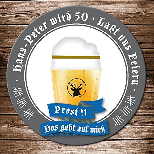 50 Echte Bierdeckel Einladung Geburtstag Motiv Bierglas Prost Bieruntersetzer Karte originelle individuelle Einladungskarte