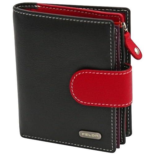 969efbbf4efb Felda Womens Genuine Soft Leather Clutch Wallet - RFID Protection - Black    Red