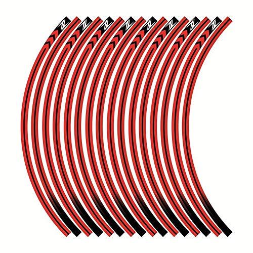 Etiquetas de calcomanías de Las Ruedas de la Motocicleta Establecer Rayas laminadas para Kawasaki Z125 Z250 Z300 Z650 Z750 Z800 Z900 Z1000 Pegatinas para Moto (Color : Rojo)