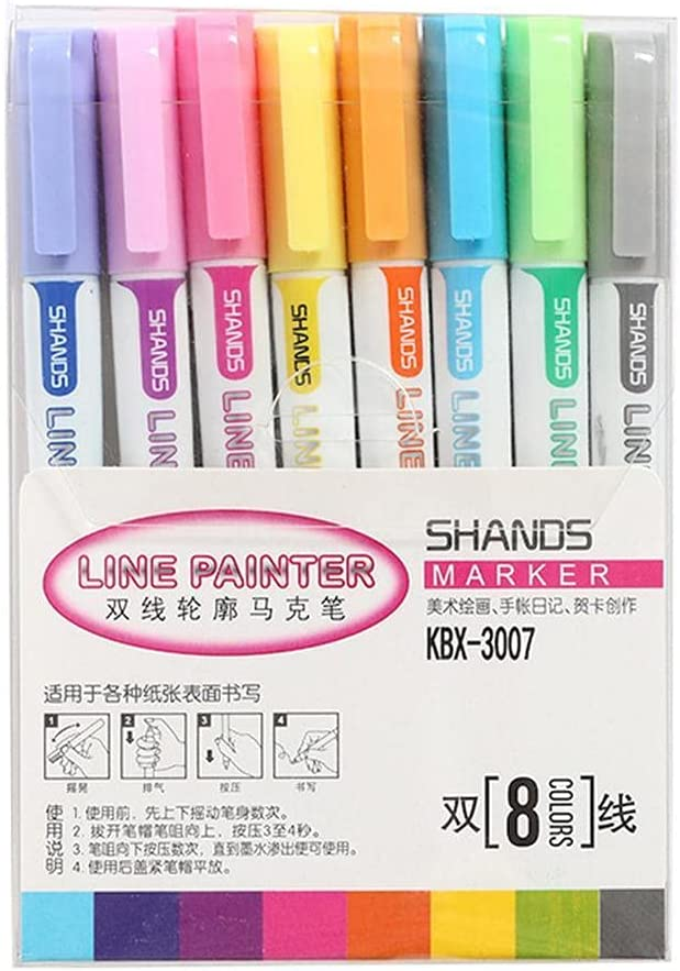 Inexpensive 8 Colors Cheap mail order shopping Shimmer Double Lines Outline W Art Pens Kit Set Markers